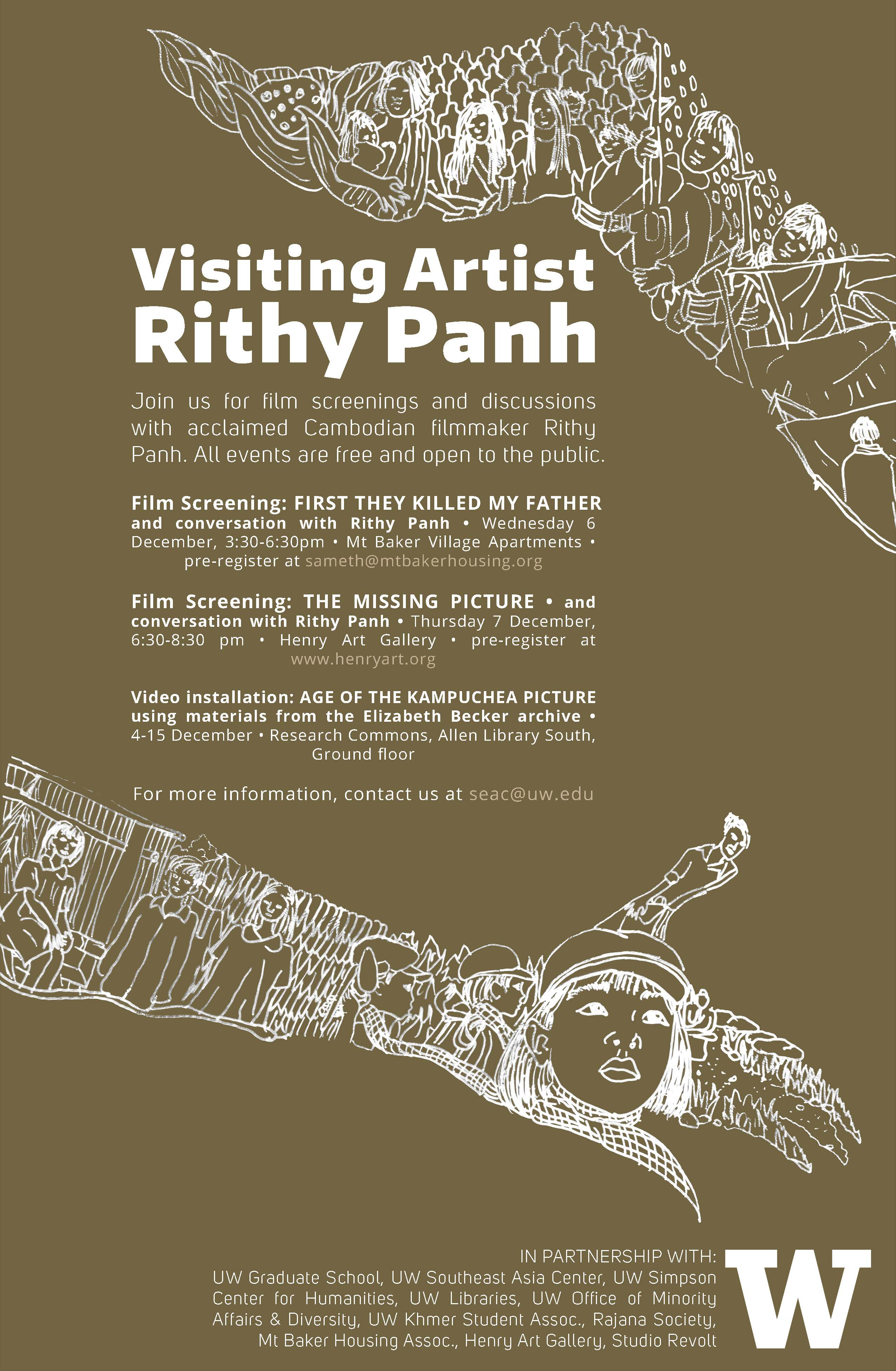 Poster for Visiting Artist Rithy Pan, advertising events in December 2018