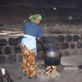 Hospital staff member cooking food in a rural hospital, Ethiopia