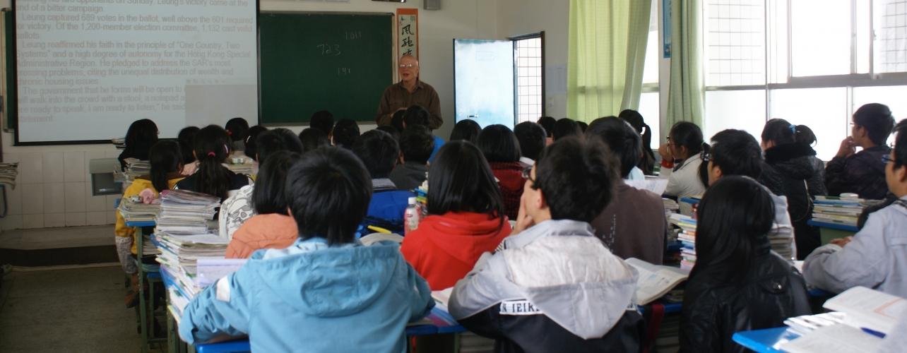 Professor Stevan Harrell is an impromptu substitute teacher for an English class, Yanyuan County, Sichuan.