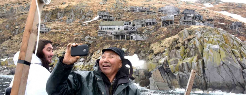 Alaskan man taking selfie