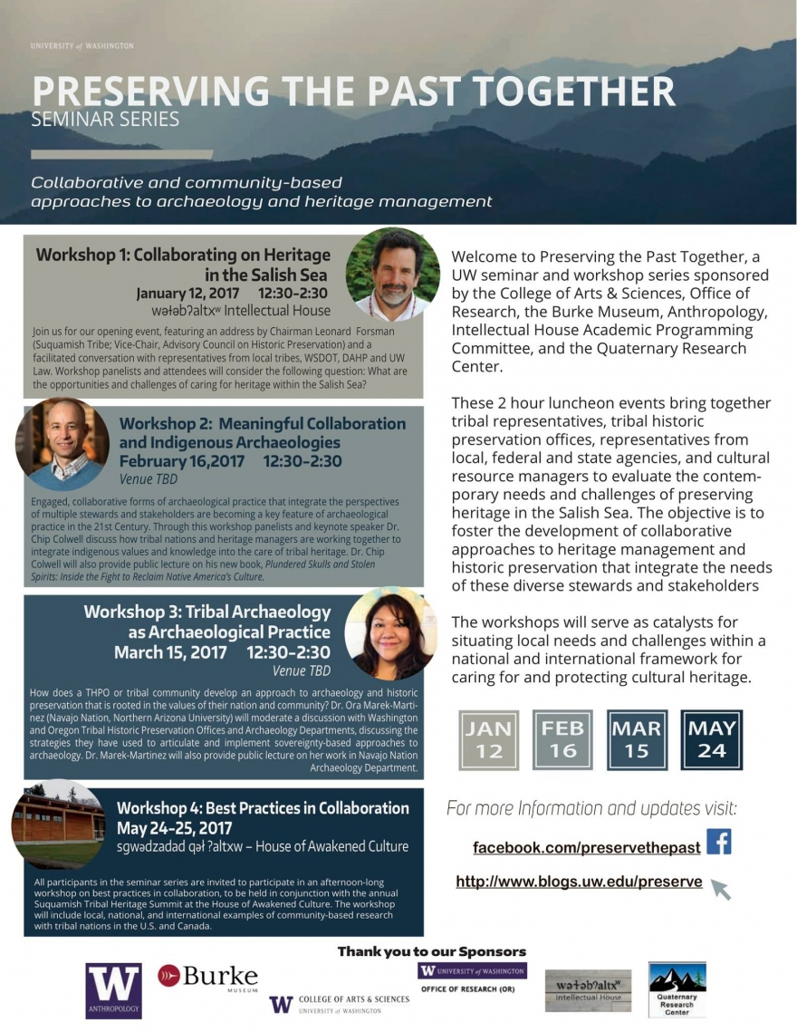 Preserving the Past Together UW Anthropology Seminar Series – Seminar Flyer