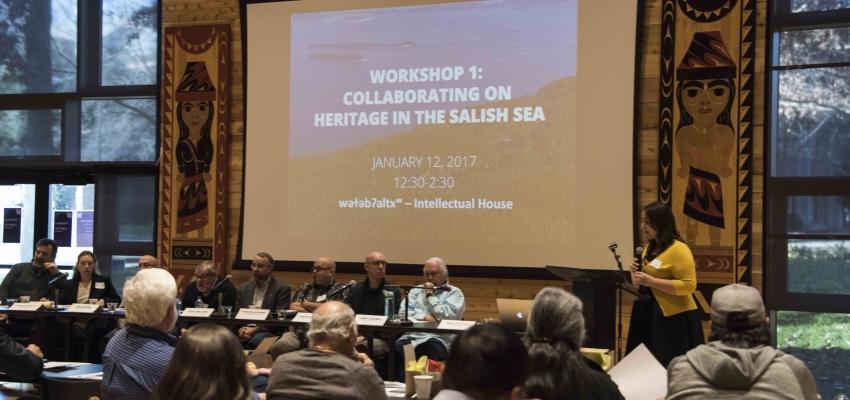 Workshop 1 Collaboration on Heritage in the Salish Sea. Welcome address by Ross Braine (Director of wǝɫǝbʔaltxʷ ). Photo credit: Sven Haakanson