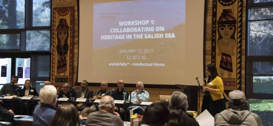 Workshop 1 Collaboration on Heritage in the Salish Sea. Welcome address by Ross Braine (Director of wǝɫǝbʔaltxʷ ). Photo credit: Sven Haakanson