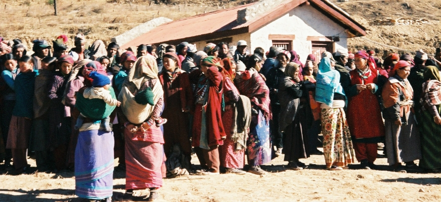 "People in line at a ""health camp"" in Nepal"
