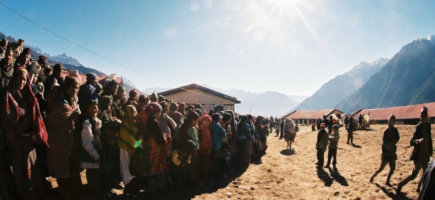 Long lines for health camps form early in the morning in Humla District, NW Nepal