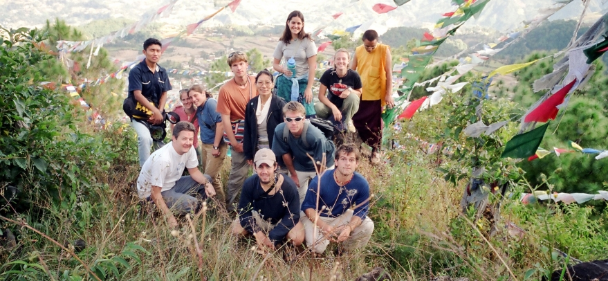 Peter (in white T-shirt) with American students, and Nepali and Tibetan hosts, at Yangleshö, Nepal