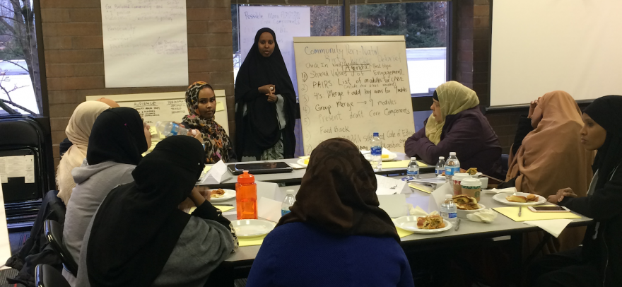 Jihan Rashid at Mama AMMAAN Project team meeting with Somali doulas to develop birth education modules