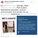 "Screenshot of Perot Museum Tweet ""Meet the Scientist"" Miguel Ochoa, in English"