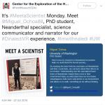 "Screenshot of Perot Museum Tweet ""Meet the Scientist"" Miguel Ochoa, in English"