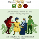 a multicolor poster of pregnant women at a clinic for prenatal care