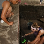 Hari Wibowo (UGM) and Kelsey Lutz (UW Museology) excavate at BN1 on Banda Neira