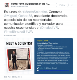 "Screenshot of Perot Museum Tweet ""Meet the Scientist"" Miguel Ochoa, in Spanish"