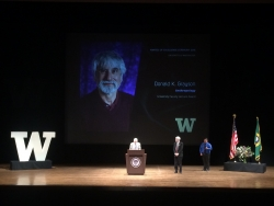 Dr. Donald K. Grayson on being introduced before his faculty lecture in April, 2016. His hair was black just prior to walking on stage.