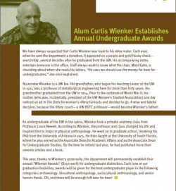 Curtis Wienker Establishes Annual Undergraduate Awards