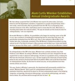 Curtis Wienker Establishes Annual Undergraduate Awards