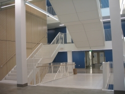 Denny Hall central stairwell as seen from the second floor entrance