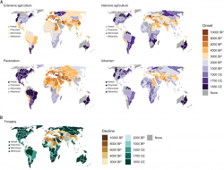 Regional onsets of land-use categories and decline of foraging