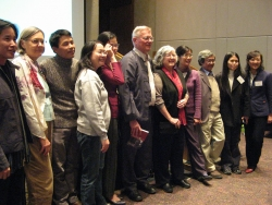 Prof. Keyes with wife center, and surrounded by his former and current graduate students, retirement photo 2007