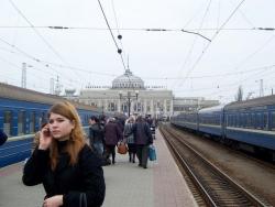 The central train station in Odessa, Ukraine