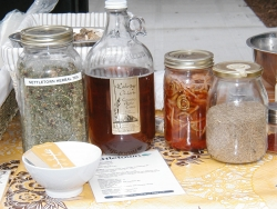 Bottled foodstuffs foraged in the city